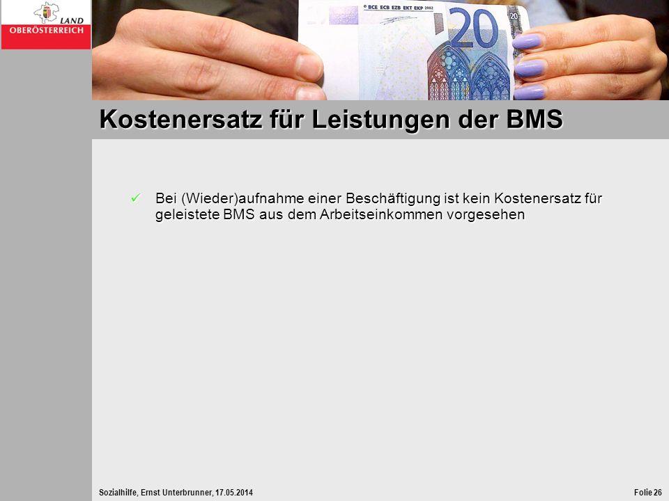 Sozialhilfe, Ernst Unterbrunner, 17.05.2014Folie 26 Kostenersatz für Leistungen der BMS Bei (Wieder)aufnahme einer Beschäftigung ist kein Kostenersatz