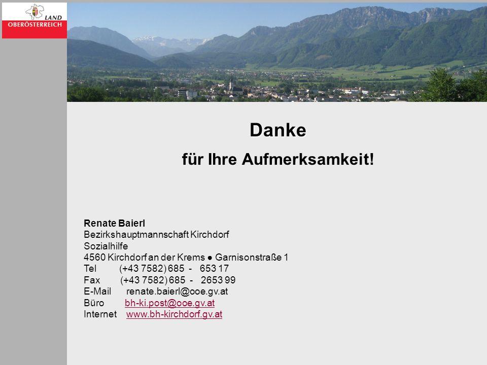 Danke für Ihre Aufmerksamkeit! Renate Baierl Bezirkshauptmannschaft Kirchdorf Sozialhilfe 4560 Kirchdorf an der Krems Garnisonstraße 1 Tel (+43 7582)