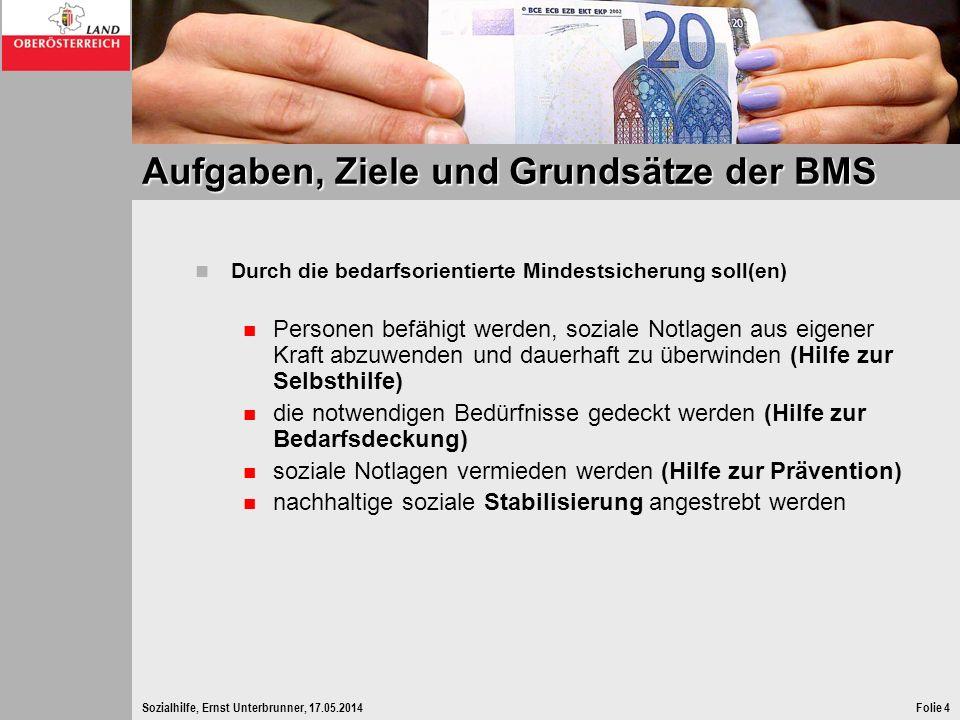 Sozialhilfe, Ernst Unterbrunner, 17.05.2014Folie 4 Aufgaben, Ziele und Grundsätze der BMS Durch die bedarfsorientierte Mindestsicherung soll(en) Perso