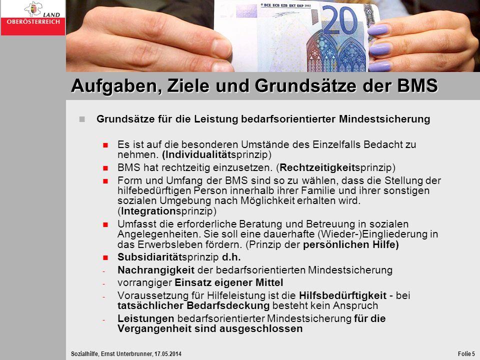 Sozialhilfe, Ernst Unterbrunner, 17.05.2014Folie 5 Aufgaben, Ziele und Grundsätze der BMS Grundsätze für die Leistung bedarfsorientierter Mindestsiche