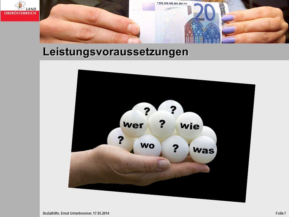 Sozialhilfe, Ernst Unterbrunner, 17.05.2014Folie 18 Anspruchsvoraussetzung – Einsatz der Arbeitskraft Ausnahmen vom Einsatz der Arbeitskraft ergeben sich bei 1.arbeitsunfähige Personen 2.Personen, die das 60.