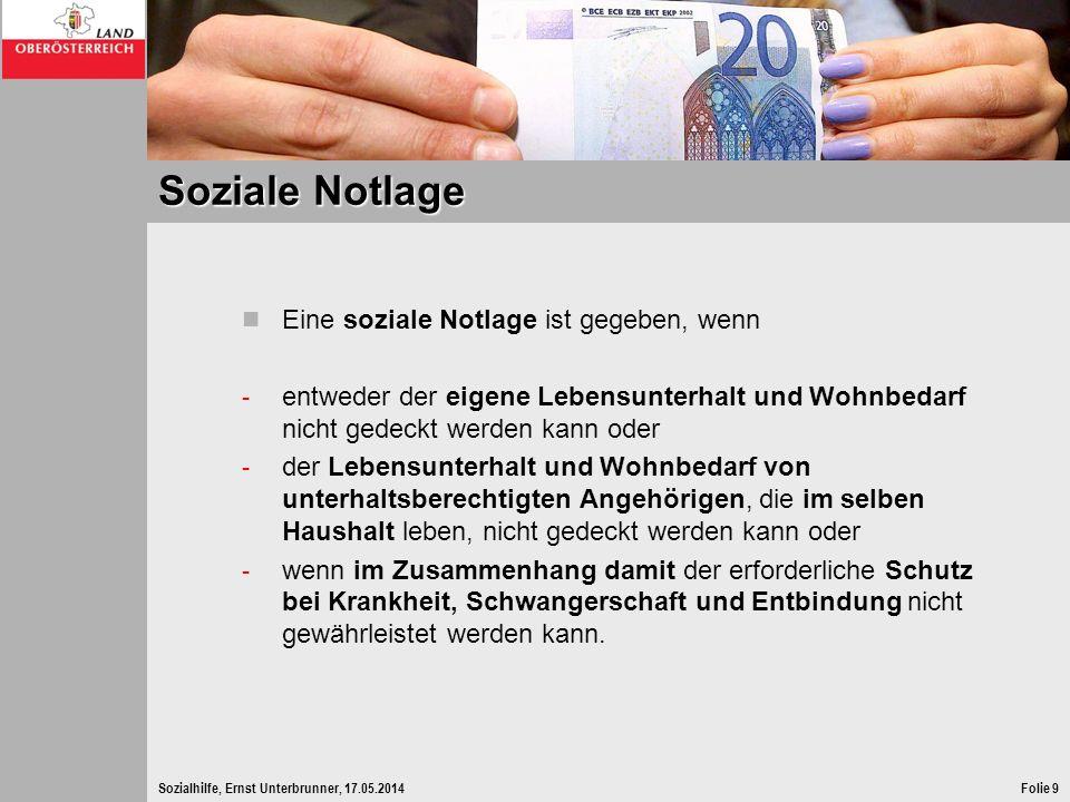 Sozialhilfe, Ernst Unterbrunner, 17.05.2014Folie 9 Soziale Notlage Eine soziale Notlage ist gegeben, wenn - entweder der eigene Lebensunterhalt und Wo