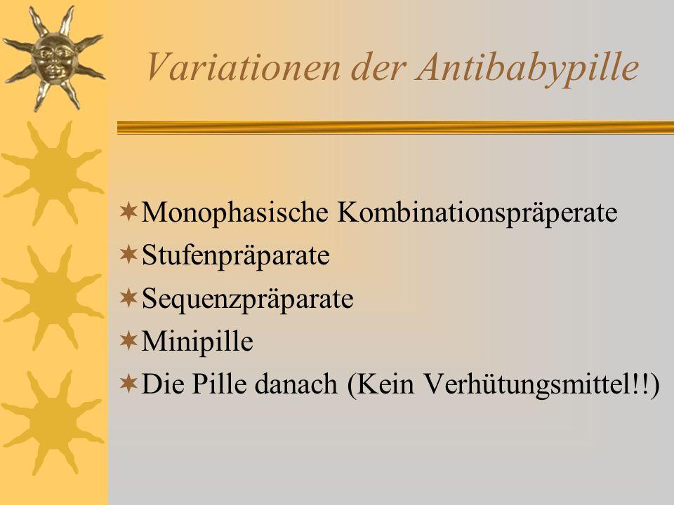 Variationen der Antibabypille Monophasische Kombinationspräperate Stufenpräparate Sequenzpräparate Minipille Die Pille danach (Kein Verhütungsmittel!!