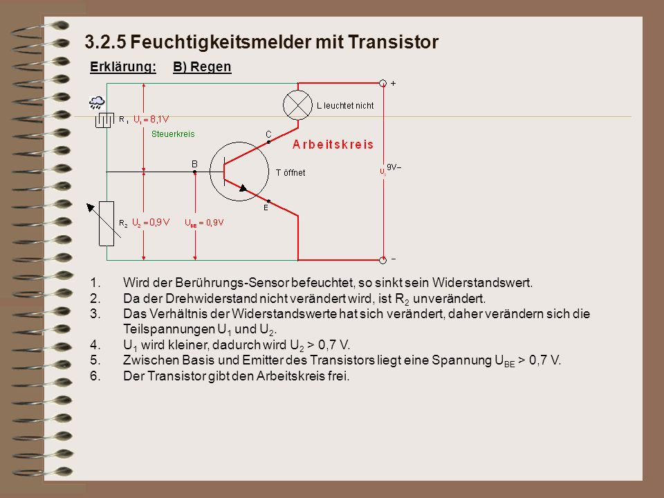 Erklärung: 3.2.5 Feuchtigkeitsmelder mit Transistor B) Regen 1.Wird der Berührungs-Sensor befeuchtet, so sinkt sein Widerstandswert.