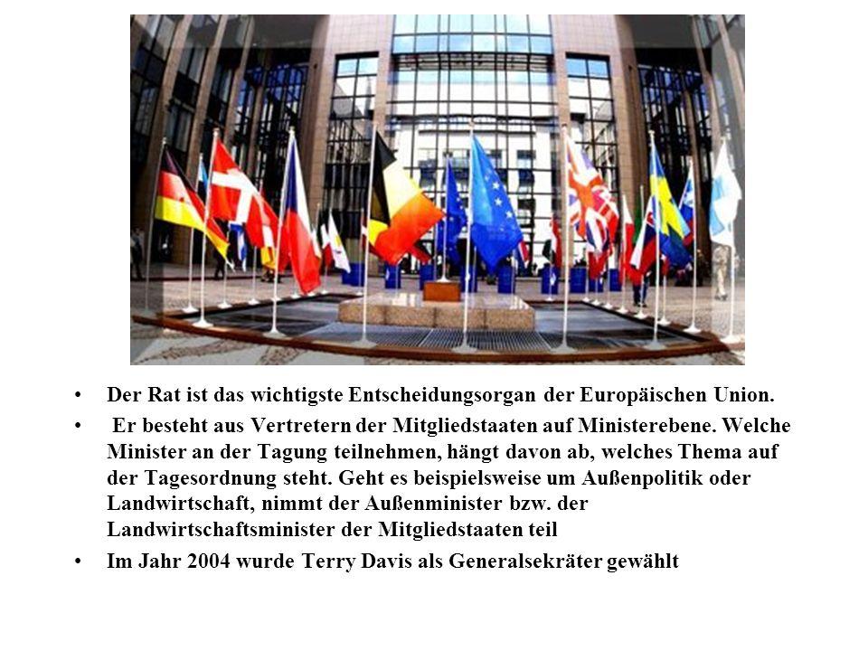 Der Rat ist das wichtigste Entscheidungsorgan der Europäischen Union. Er besteht aus Vertretern der Mitgliedstaaten auf Ministerebene. Welche Minister