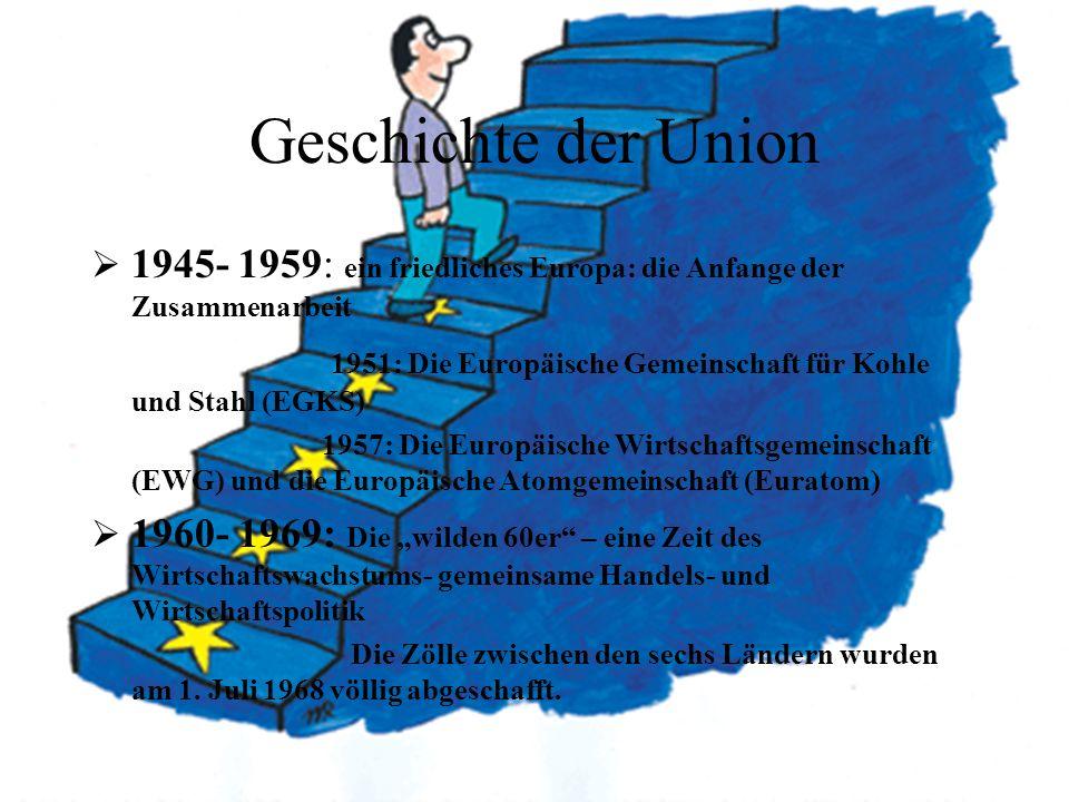 Geschichte der Union 1945- 1959: ein friedliches Europa: die Anfange der Zusammenarbeit 1951: Die Europäische Gemeinschaft für Kohle und Stahl (EGKS)