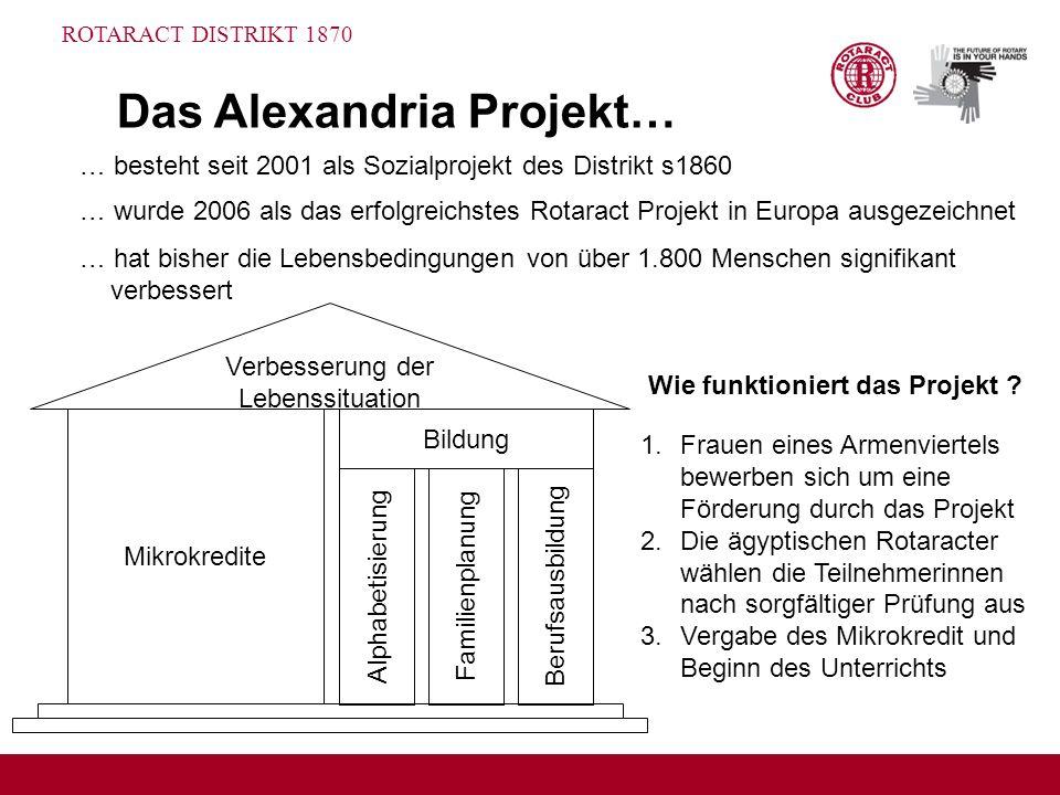 ROTARACT DISTRIKT 1870 Das Alexandria Projekt… … besteht seit 2001 als Sozialprojekt des Distrikt s1860 … wurde 2006 als das erfolgreichstes Rotaract