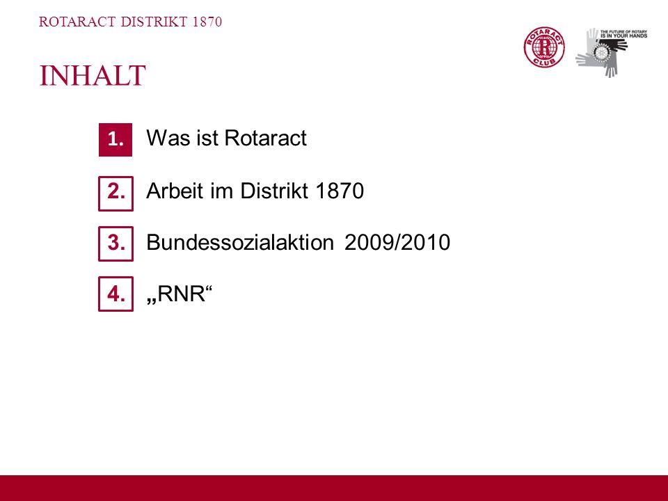 ROTARACT DISTRIKT 1870 1. Was ist Rotaract 2. Arbeit im Distrikt 1870 3.Bundessozialaktion 2009/2010 4.RNR INHALT