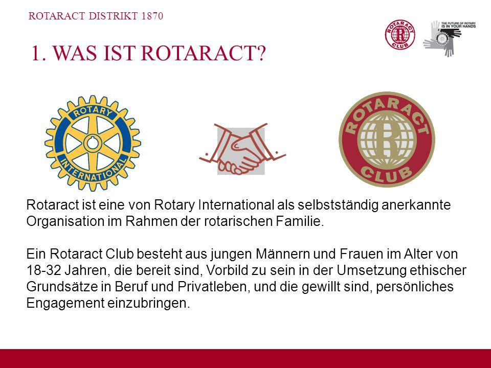 ROTARACT DISTRIKT 1870 1. WAS IST ROTARACT? Rotaract ist eine von Rotary International als selbstständig anerkannte Organisation im Rahmen der rotaris