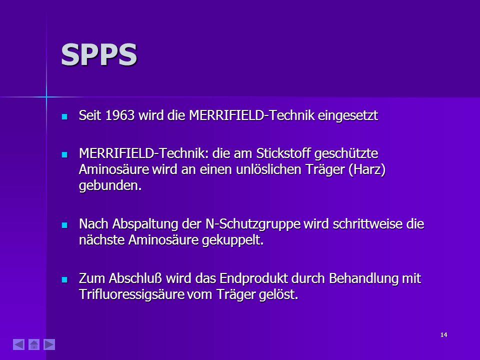 14 SPPS Seit 1963 wird die MERRIFIELD-Technik eingesetzt Seit 1963 wird die MERRIFIELD-Technik eingesetzt MERRIFIELD-Technik: die am Stickstoff geschü
