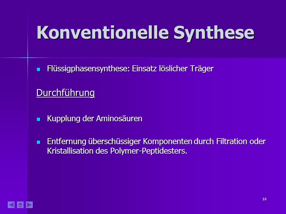16 Konventionelle Synthese Flüssigphasensynthese: Einsatz löslicher Träger Flüssigphasensynthese: Einsatz löslicher TrägerDurchführung Kupplung der Am
