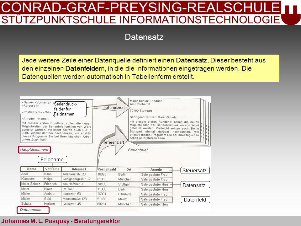 Datensatz Johannes M. L. Pasquay - Beratungsrektor Steuersatz Datensatz Datenfeld Feldname Seriendruck- felder für Feldnamen referenziert Jede weitere