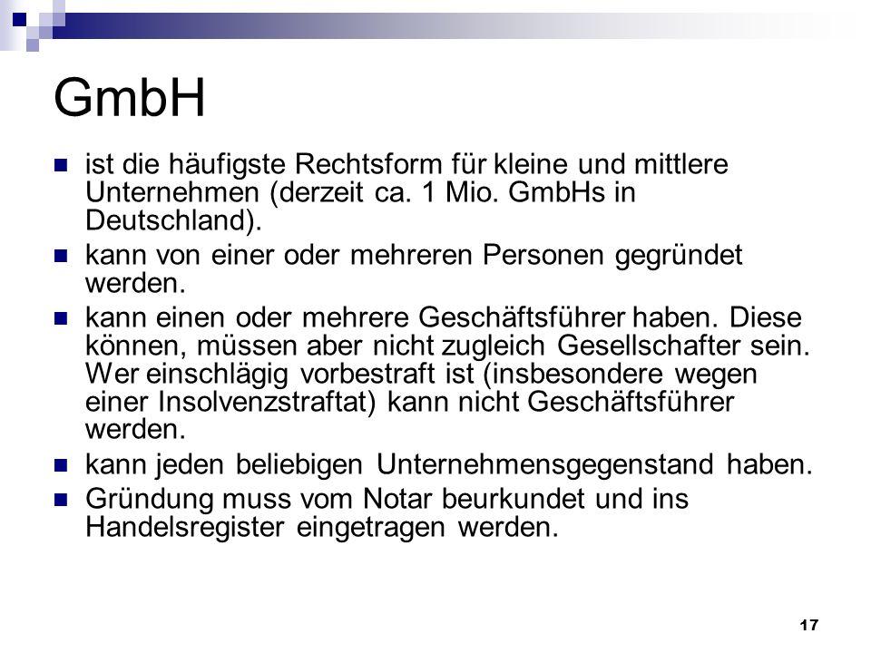 17 GmbH ist die häufigste Rechtsform für kleine und mittlere Unternehmen (derzeit ca. 1 Mio. GmbHs in Deutschland). kann von einer oder mehreren Perso