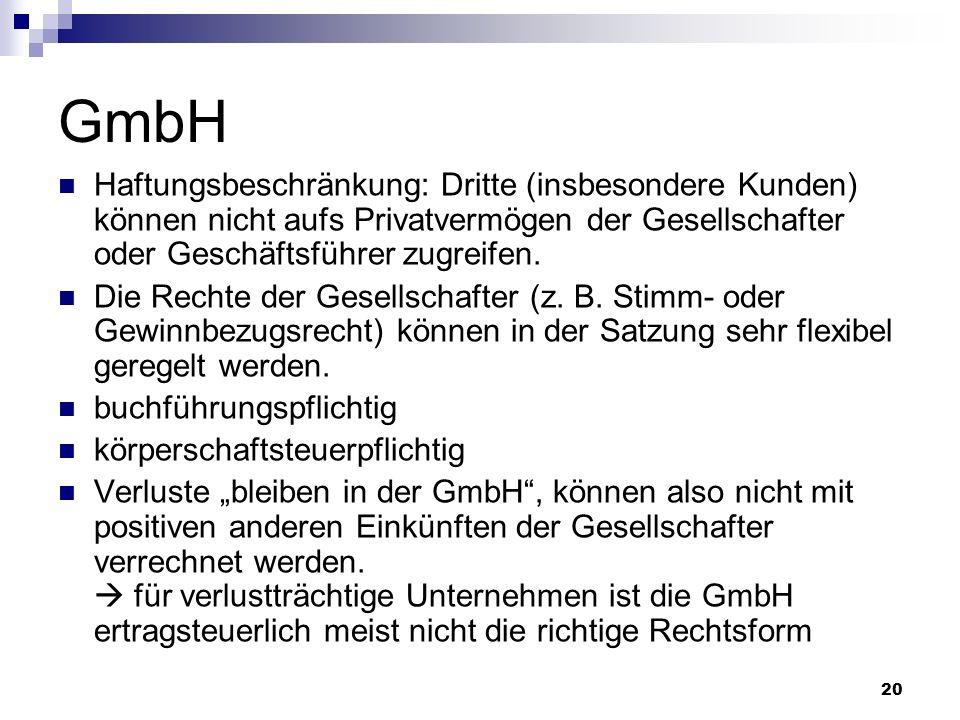 20 GmbH Haftungsbeschränkung: Dritte (insbesondere Kunden) können nicht aufs Privatvermögen der Gesellschafter oder Geschäftsführer zugreifen. Die Rec