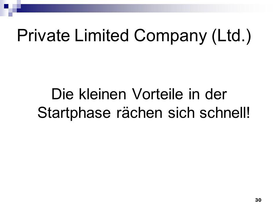 30 Private Limited Company (Ltd.) Die kleinen Vorteile in der Startphase rächen sich schnell!