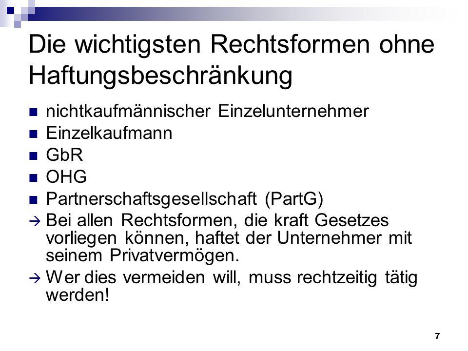 8 Die wichtigsten Rechtsformen mit Haftungsbeschränkung Gesellschaft mit beschränkter Haftung (GmbH) Aktiengesellschaft (AG) Private Limited Company (Ltd.)
