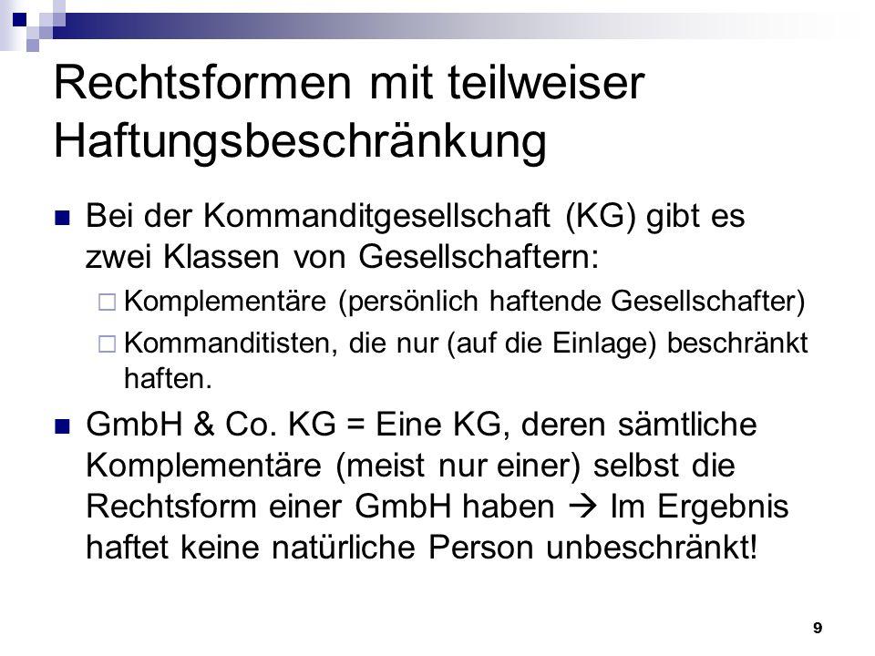 20 GmbH Haftungsbeschränkung: Dritte (insbesondere Kunden) können nicht aufs Privatvermögen der Gesellschafter oder Geschäftsführer zugreifen.