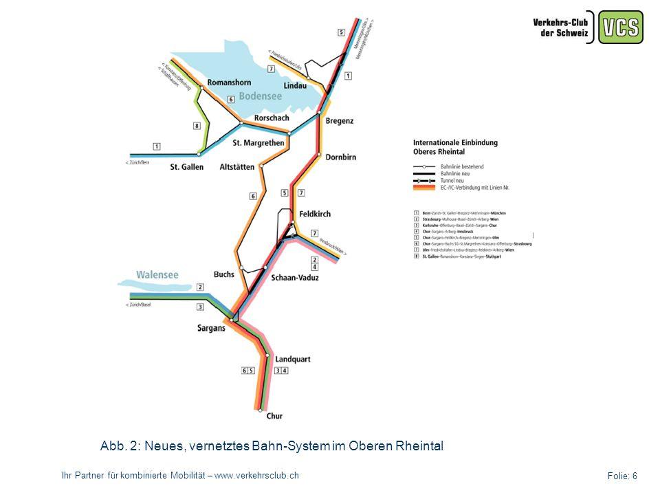Ihr Partner für kombinierte Mobilität – www.verkehrsclub.ch Folie: 7 Das Hauptziel der Studie besteht darin, die beiden vorhandenen Studien BODAN-RAIL 2020 und Nachhaltiger Verkehr im oberen Rheintal mit konkreten Vorschlägen zu ergänzen.