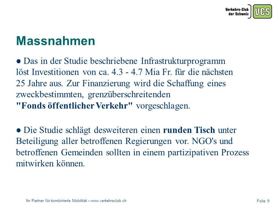 Ihr Partner für kombinierte Mobilität – www.verkehrsclub.ch Folie: 9 Massnahmen Das in der Studie beschriebene Infrastrukturprogramm löst Investitionen von ca.