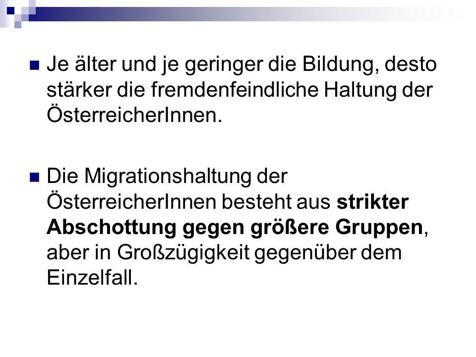 Je älter und je geringer die Bildung, desto stärker die fremdenfeindliche Haltung der ÖsterreicherInnen.