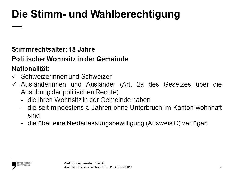 4 Amt für Gemeinden GemA Ausbildungsseminar des FGV / 31.