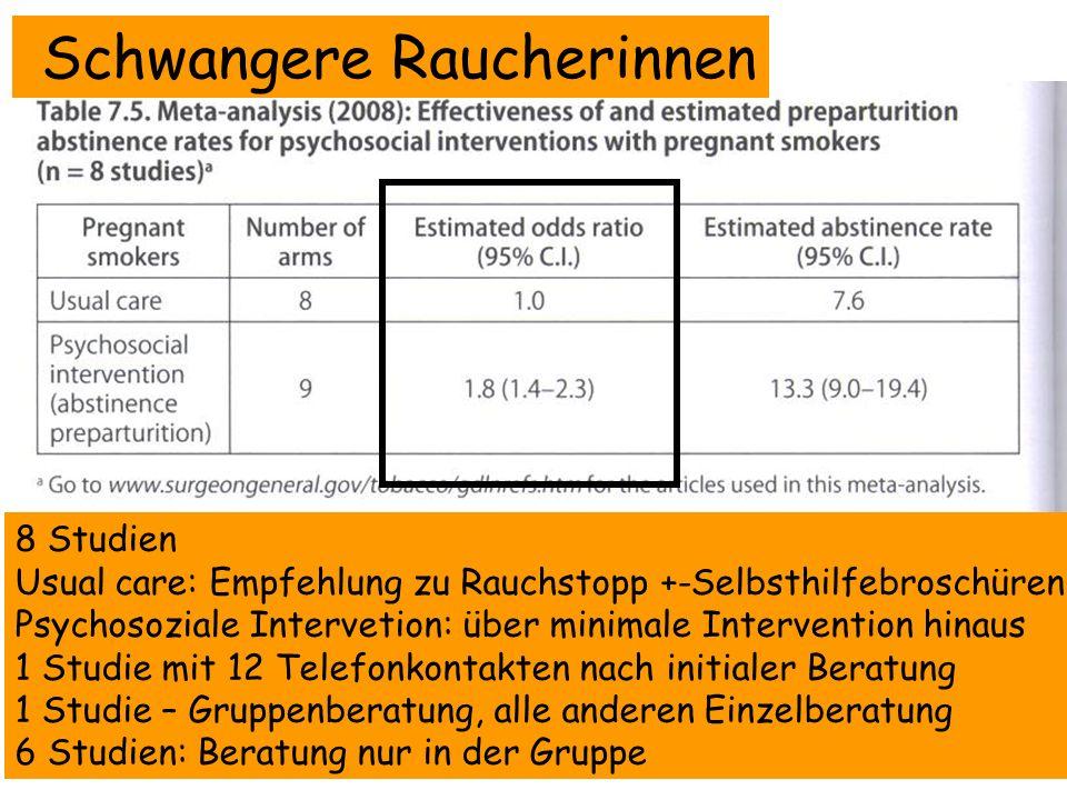 Schwangere Raucherinnen 8 Studien Usual care: Empfehlung zu Rauchstopp +-Selbsthilfebroschüren Psychosoziale Intervetion: über minimale Intervention h