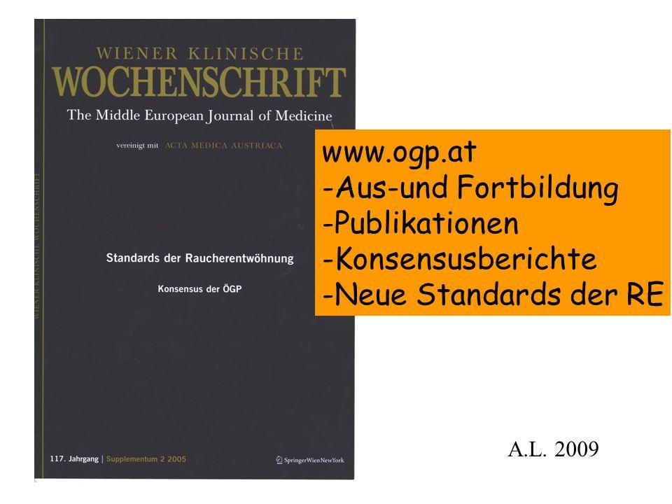 ÖGP - Standard der Raucherentwöhnung Erarbeitet von: Prim.Dr.K.Aigner OA Dr.I.Homeier Dr.W.Koesler Univ.-Prof.Prim.Dr.H.Zwick Unter Federführung von Prim.Dr.A.Lichtenschopf A.L.
