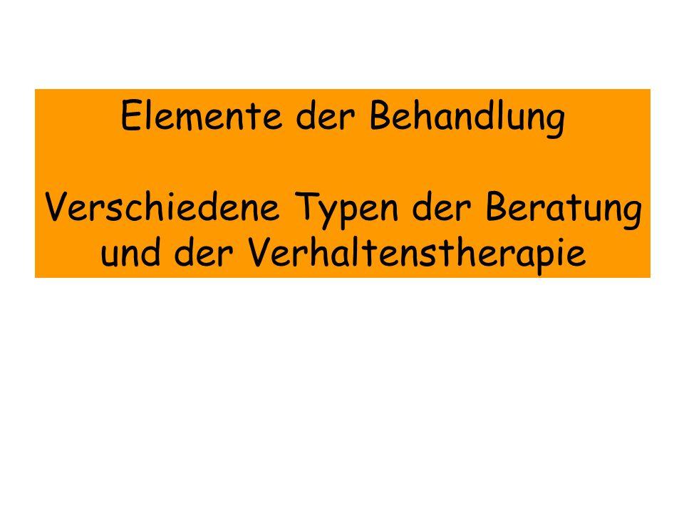 Elemente der Behandlung Verschiedene Typen der Beratung und der Verhaltenstherapie