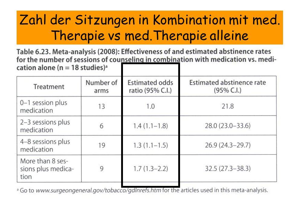 Zahl der Sitzungen in Kombination mit med. Therapie vs med.Therapie alleine