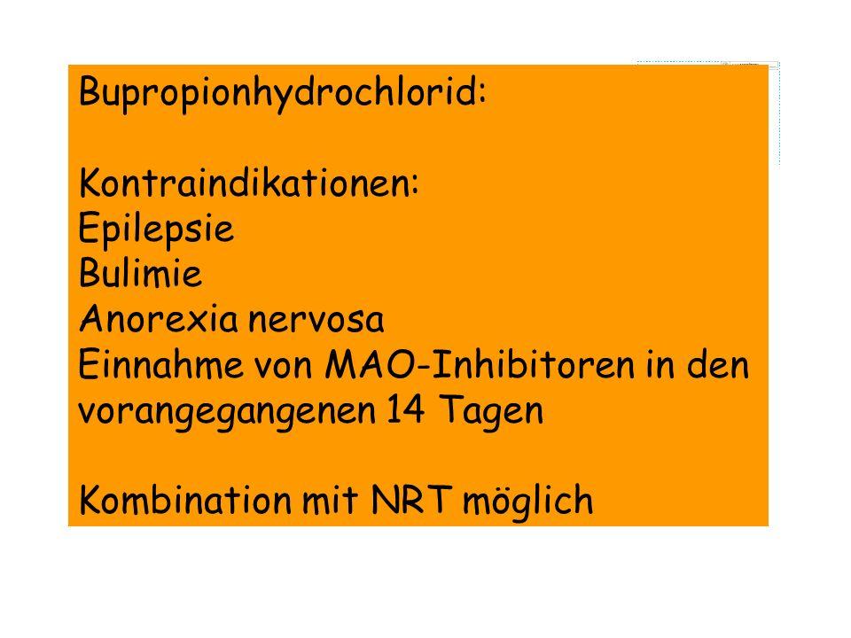 Bupropionhydrochlorid: Kontraindikationen: Epilepsie Bulimie Anorexia nervosa Einnahme von MAO-Inhibitoren in den vorangegangenen 14 Tagen Kombination