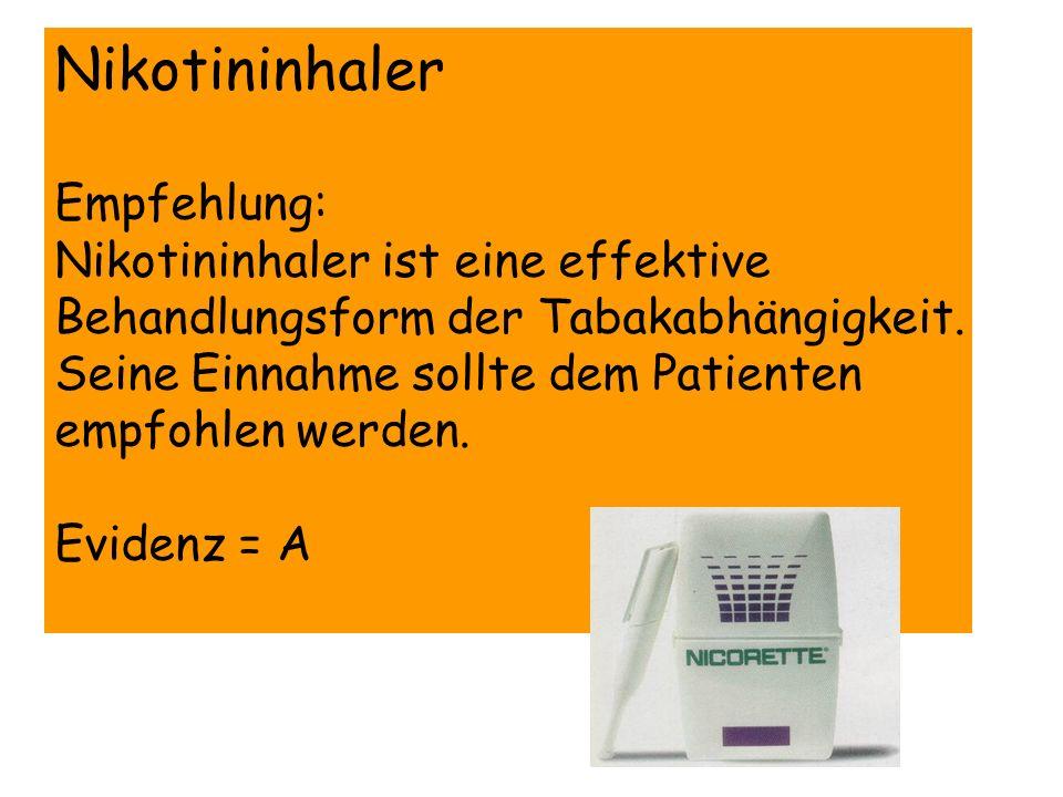 Nikotininhaler Empfehlung: Nikotininhaler ist eine effektive Behandlungsform der Tabakabhängigkeit. Seine Einnahme sollte dem Patienten empfohlen werd