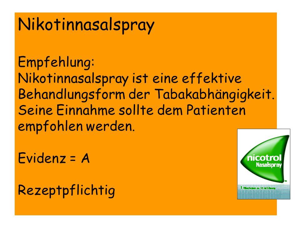 Nikotinnasalspray Empfehlung: Nikotinnasalspray ist eine effektive Behandlungsform der Tabakabhängigkeit. Seine Einnahme sollte dem Patienten empfohle