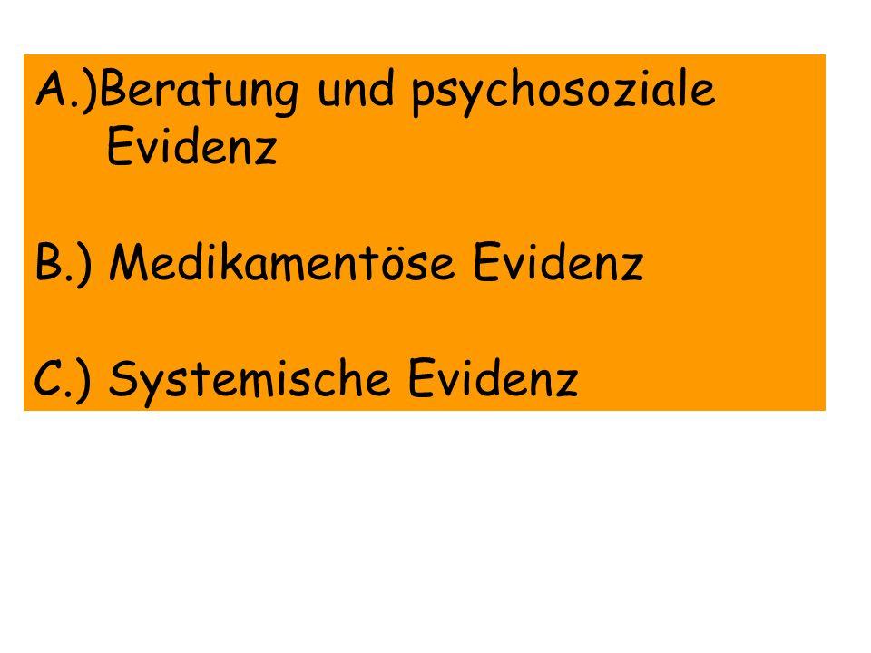 Evidenz für die medikamentöse Therapie Empfehlung: Die Therapeuten sollten alle Patienten, die eine Raucherentwöhnung planen, eine effektive medikamentöse Therapie zur Behandlung der Tabakabhängigkeit empfehlen ausgenommen jene, für die eine med.Therapie kontra- indiziert ist oder die zu den speziellen Sub- populationen zählen, für die ungenügende Evidenz besteht (Schwangere, Adoleszente, Leichte Raucher = weniger als 10 Zig/Tag) Evidenz = A