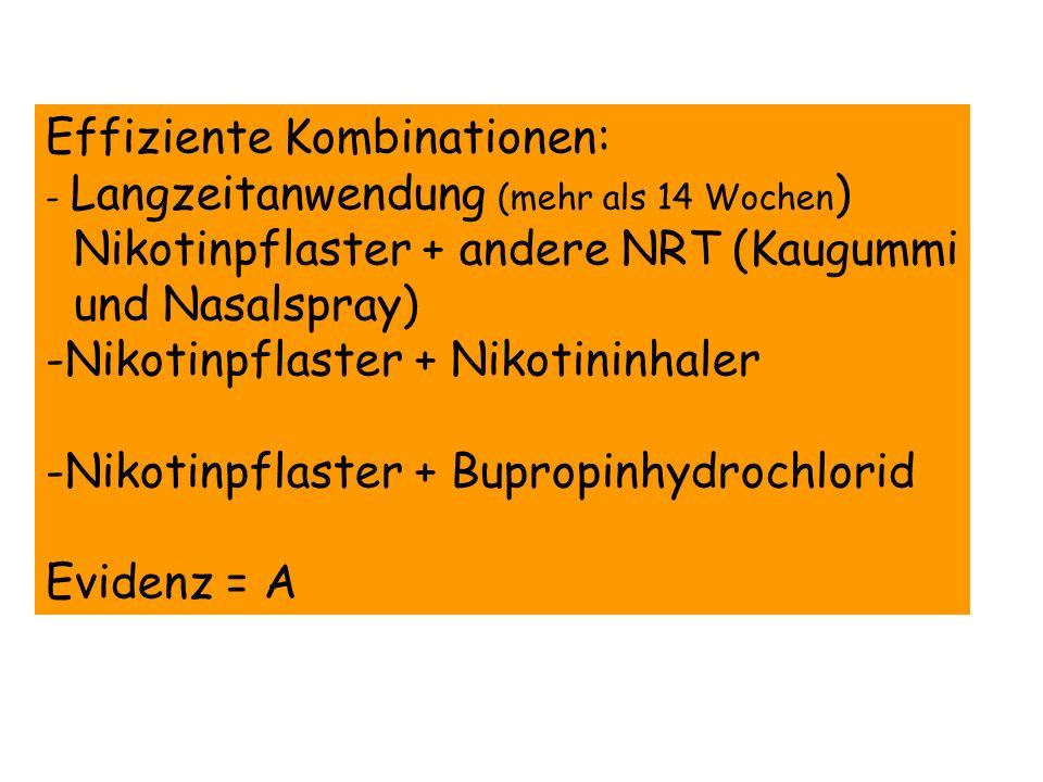 Effiziente Kombinationen: - Langzeitanwendung (mehr als 14 Wochen ) Nikotinpflaster + andere NRT (Kaugummi und Nasalspray) -Nikotinpflaster + Nikotini