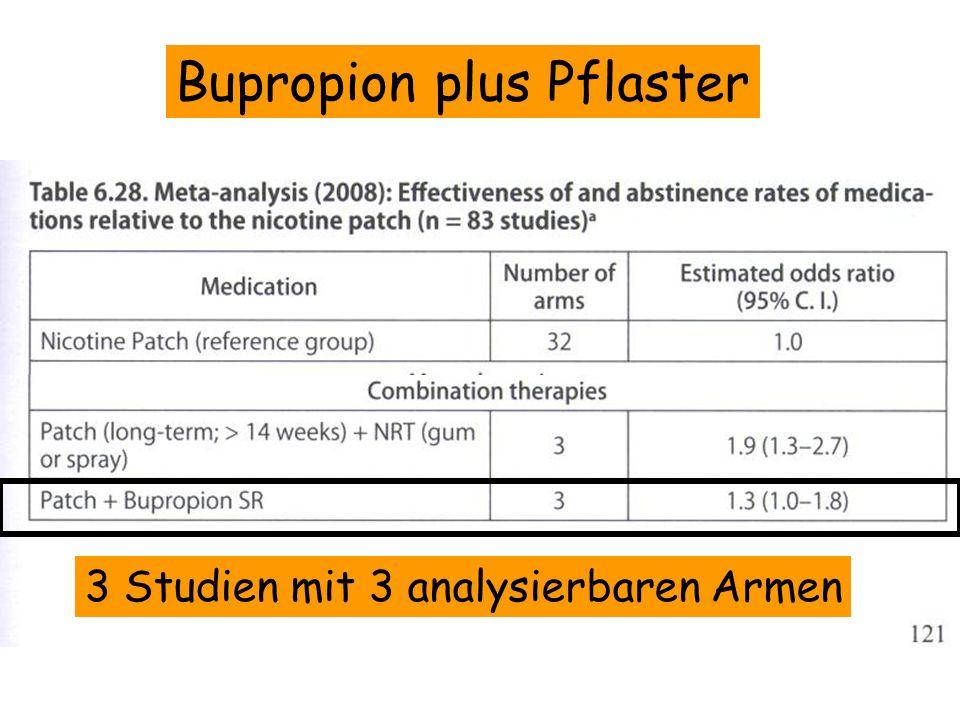 Bupropion plus Pflaster 3 Studien mit 3 analysierbaren Armen