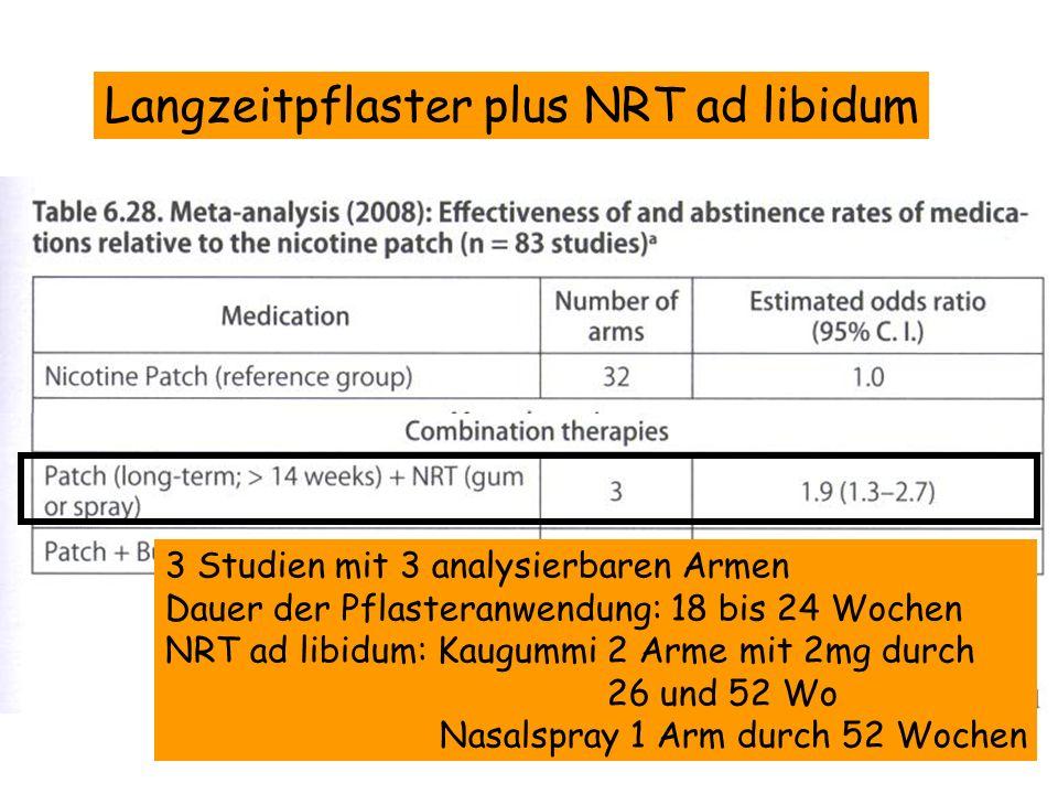 Langzeitpflaster plus NRT ad libidum 3 Studien mit 3 analysierbaren Armen Dauer der Pflasteranwendung: 18 bis 24 Wochen NRT ad libidum: Kaugummi 2 Arm