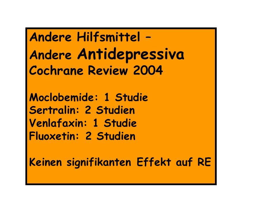 Andere Hilfsmittel – Andere Antidepressiva Cochrane Review 2004 Moclobemide: 1 Studie Sertralin: 2 Studien Venlafaxin: 1 Studie Fluoxetin: 2 Studien K