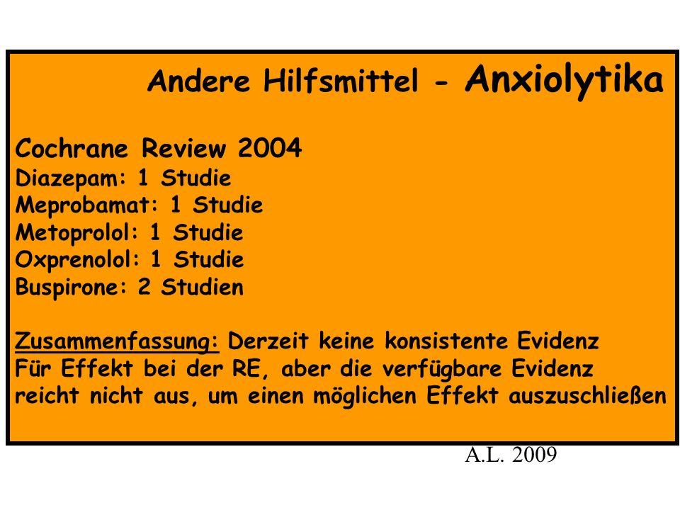 Andere Hilfsmittel - Anxiolytika Cochrane Review 2004 Diazepam: 1 Studie Meprobamat: 1 Studie Metoprolol: 1 Studie Oxprenolol: 1 Studie Buspirone: 2 S