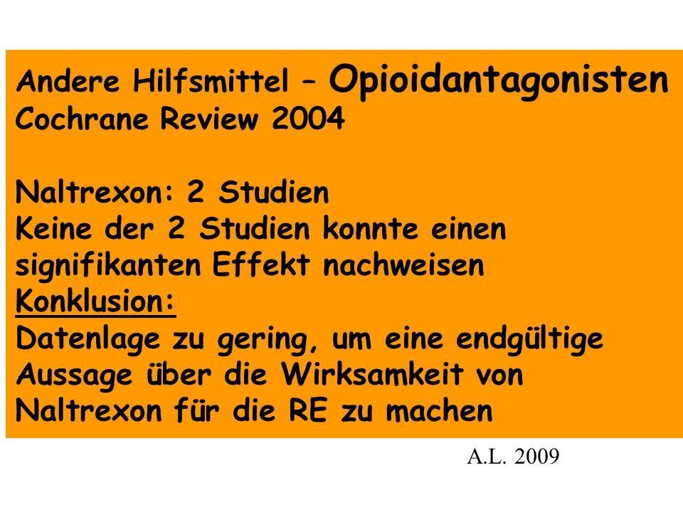Andere Hilfsmittel – Opioidantagonisten Cochrane Review 2004 Naltrexon: 2 Studien Keine der 2 Studien konnte einen signifikanten Effekt nachweisen Kon