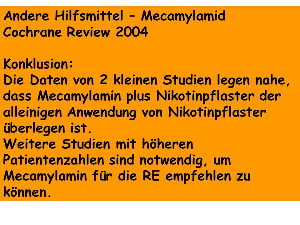 Andere Hilfsmittel – Mecamylamid Cochrane Review 2004 Konklusion: Die Daten von 2 kleinen Studien legen nahe, dass Mecamylamin plus Nikotinpflaster de
