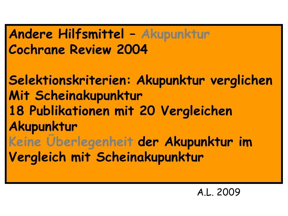 Andere Hilfsmittel – Akupunktur Cochrane Review 2004 Selektionskriterien: Akupunktur verglichen Mit Scheinakupunktur 18 Publikationen mit 20 Vergleich