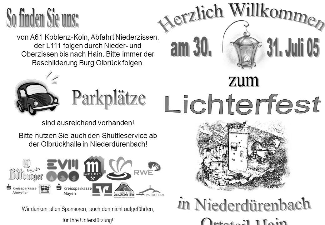 Wir danken allen Sponsoren, auch den nicht aufgeführten, für Ihre Unterstützung! von A61 Koblenz-Köln, Abfahrt Niederzissen, der L111 folgen durch Nie