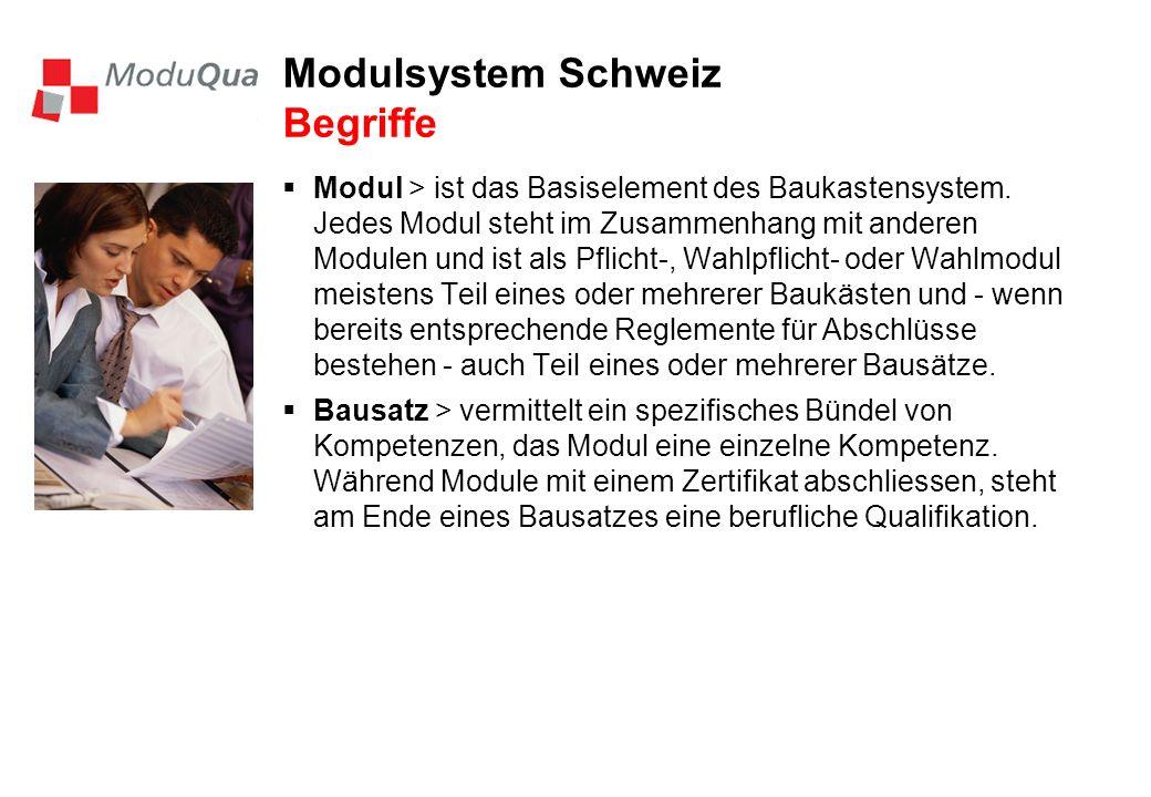 Modulsystem Schweiz Begriffe Modul > ist das Basiselement des Baukastensystem. Jedes Modul steht im Zusammenhang mit anderen Modulen und ist als Pflic