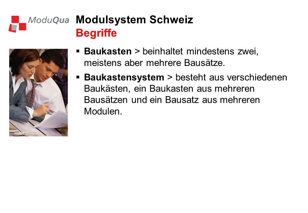Modulsystem Schweiz Begriffe Baukasten > beinhaltet mindestens zwei, meistens aber mehrere Bausätze. Baukastensystem > besteht aus verschiedenen Baukä