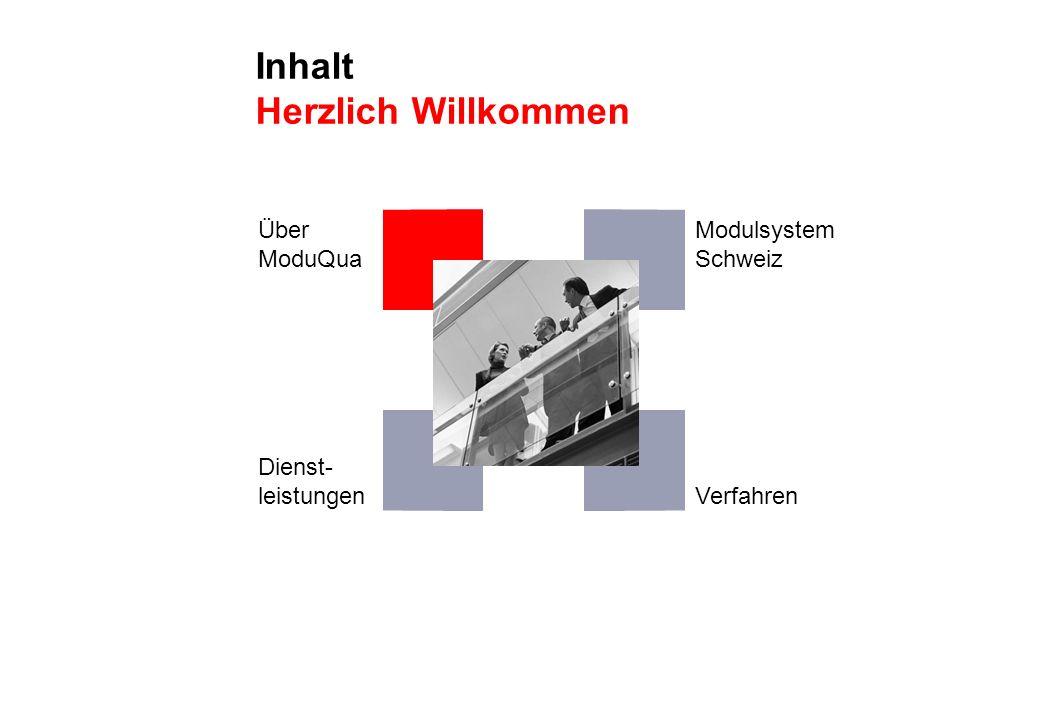 Inhalt Herzlich Willkommen Über ModuQua Dienst- leistungen Modulsystem Schweiz Verfahren
