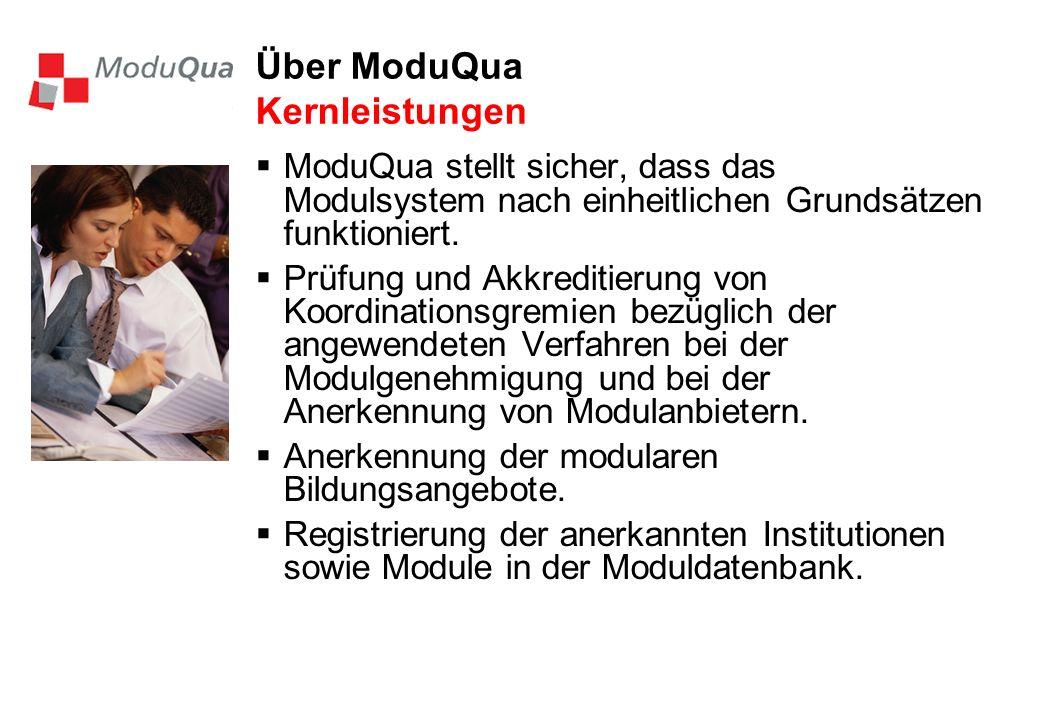 Über ModuQua Kernleistungen ModuQua stellt sicher, dass das Modulsystem nach einheitlichen Grundsätzen funktioniert. Prüfung und Akkreditierung von Ko
