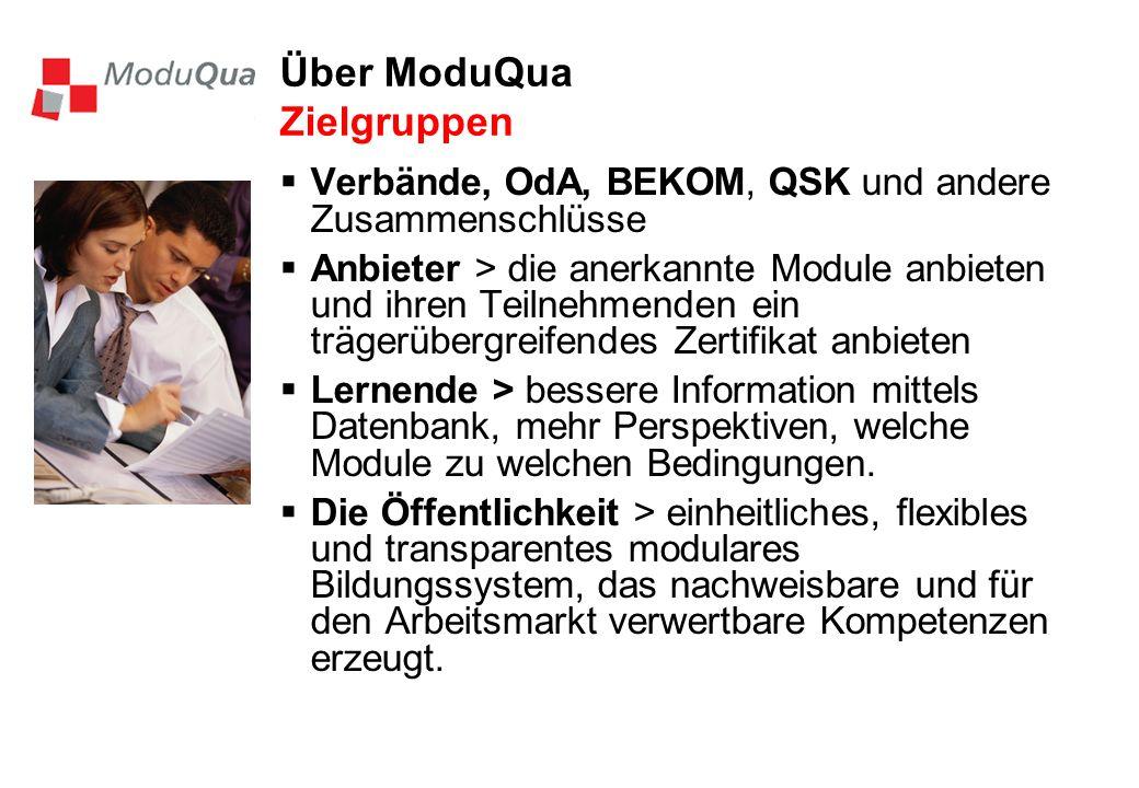 Über ModuQua Zielgruppen Verbände, OdA, BEKOM, QSK und andere Zusammenschlüsse Anbieter > die anerkannte Module anbieten und ihren Teilnehmenden ein trägerübergreifendes Zertifikat anbieten Lernende > bessere Information mittels Datenbank, mehr Perspektiven, welche Module zu welchen Bedingungen.