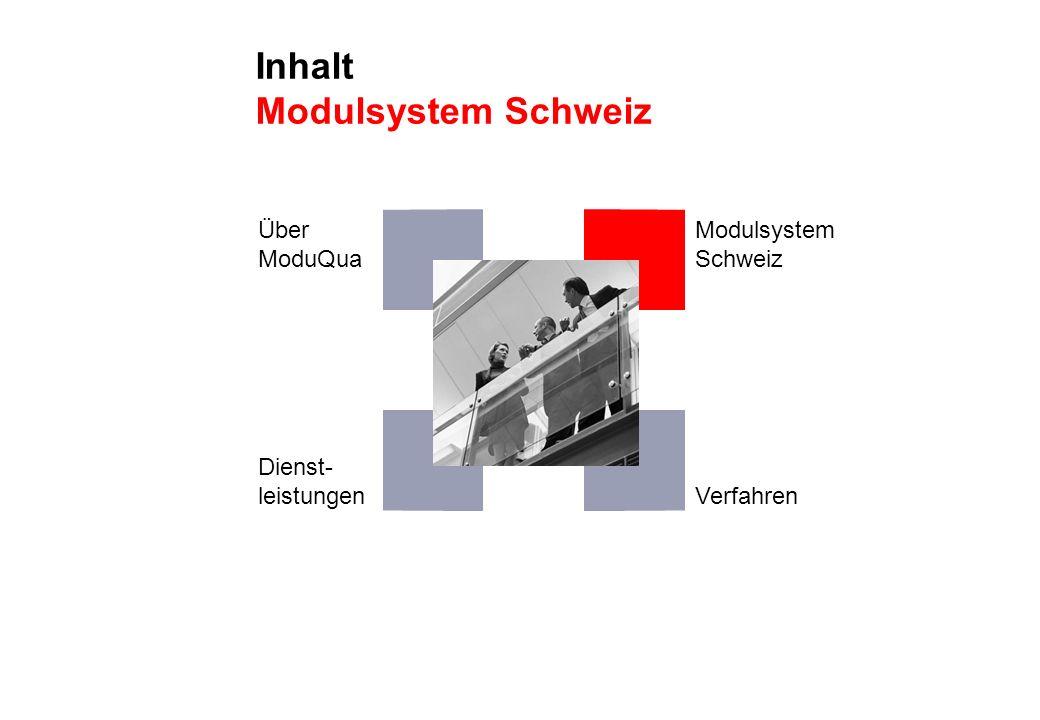 Inhalt Modulsystem Schweiz Über ModuQua Dienst- leistungen Modulsystem Schweiz Verfahren