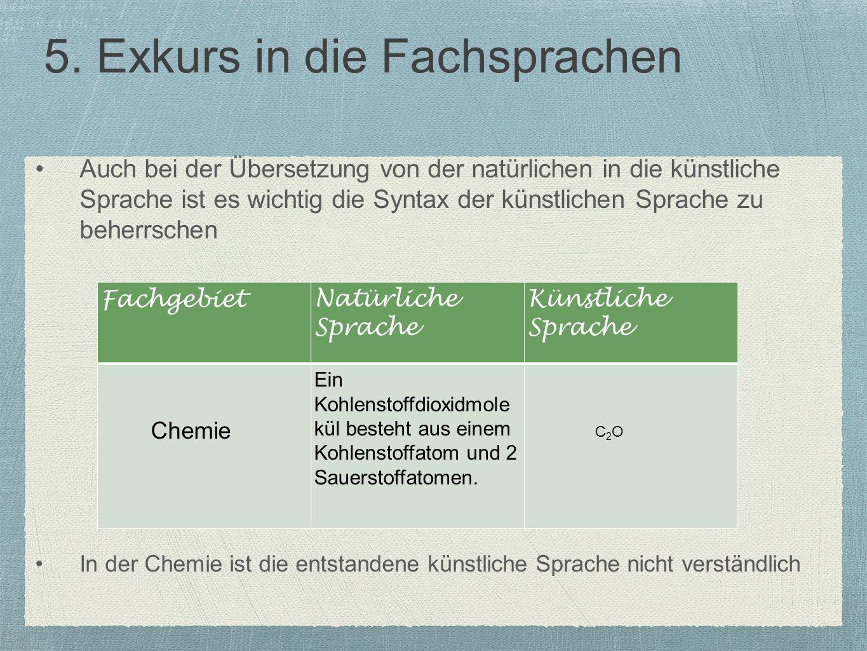 5. Exkurs in die Fachsprachen Auch bei der Übersetzung von der natürlichen in die künstliche Sprache ist es wichtig die Syntax der künstlichen Sprache
