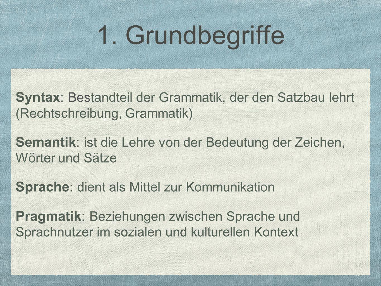 1. Grundbegriffe Syntax : Bestandteil der Grammatik, der den Satzbau lehrt (Rechtschreibung, Grammatik) Semantik : ist die Lehre von der Bedeutung der
